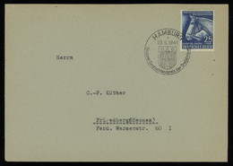 TREASURE HUNT [01013] Germany 1941 Cover Sent From Hamburg Bearing Horse Race Derby Issue 25+100 Pf Blue, Special Cancel - Briefe U. Dokumente