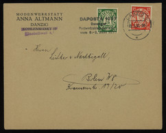 TREASURE HUNT [01064] Danzig 1937 Cover To Berlin Franked With 10 Pf Green+15 Pf Red Stamps, DAPOSTA '37 Pmk. - Danzig