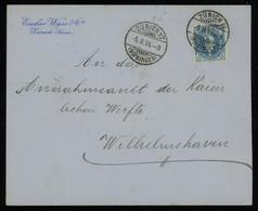 TREASURE HUNT [01094] Switzerland 1904 Cover From Zürich To Wilhelmshaven, Standing Helvetia 25f Blue Single Franking - Briefe U. Dokumente