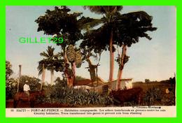PORT-AU-PRINCE, HAITI - HABITATION CAMPAGNARDE, LES ARBRES TRANSFORMÉS EN GRENIER CONTRE LES RATS - V. COMEAU-MONTASSE - - Haiti