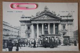 BRUXELLES : La BOURSE Et Les Trams Hippomobile 384 BOURSE/PORTE DE HAL Et électrique - Brussels (City)