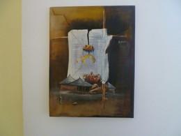 ARTISTE PEINTRE ART AFRICAIN WILLIAM KAYO SANS TITRE 2002 ATELIER DE GAROUA CAMEROUN - Oleo