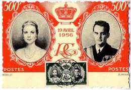 MONACO  MONACO  19 AVRIL 1956   MARIAGE RAINIER GRACE KELLY  -  CARTE MAXIMUN 500 F - Maximum Cards