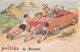 CPSM Dentelée Amitiés De MAZAMET Voiture En Panne Femme Grosse Femme Forte Illustrateur  J. CHAPERON N° 1114 - Chaperon, Jean