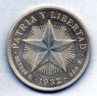 CUBA, 1 Peso, Silver, Year 1932, KM #15.2, Low Relief - Cuba