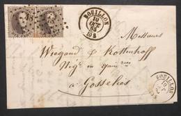 OBP 14 Op Briefomslag In PAAR - LP48 BOUILLON - GOSSELIES 10/10/1865 - 1863-1864 Medallions (13/16)