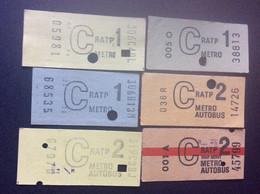 * LOT 6 TICKETS MÉTRO RATP  *C 1 *C 2 - Europe
