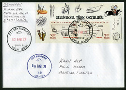 Turkey 2021 Postal Used Mail Cover | Traditional Turkish Archery |  Arrows | Sports | With Arrival Postmark - Archery