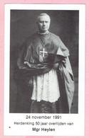 Bidprentje - Herdenking 50 Jaar Overlijden Monseigneur THOMAS LUDOVICUS HEYLEN 1991 - Kasterlee 1856 - Namen 1941 - Imágenes Religiosas