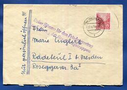 """Propaganda """"Deine Stimme Für Den Friedensvertrag Und Den Abzug Der Besatz..."""" Brief  Weimar 27.6.54 Sattel Für's Fahrrad - Briefe U. Dokumente"""