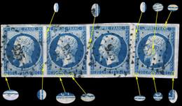 France - Bande De 3 Plus 1x Yv.14A 20c Bleu T.I - Planchés 028/029/030D4 & 040D4 - Obl. Pc 935 (CONDOM) Sur Fragment - 1853-1860 Napoléon III