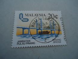 MALAYSIA USED STAMPS  BRIDGES WITH POSTMARK - Malaysia (1964-...)