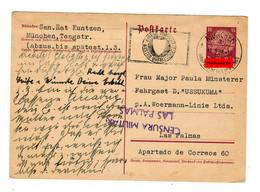 Ganzsache Von München Nach Las Palmas 1938, Zensur, Schiffspost Woermann-Linie - Zonder Classificatie