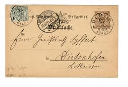 Ganzsache Von Ulm 1895 Nach Diedenhofen  - Wurttemberg
