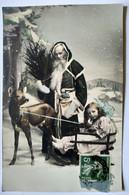 CPA Père Noël Santa Claus - Fillette Dans Traîneau - Guignol -- TB - Santa Claus