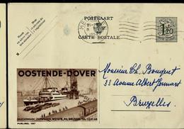 Publibel Obl. N° 1187  ( OOSTENDE - DOVER - Trains - Autos - Port Avec Grues) Obl. MECHELEN 1954 - Publibels