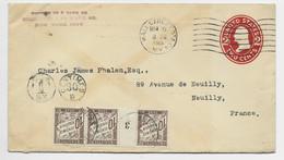FRANCE TAXE 10C BANDE DE 3 AVEC MILLESIME 3 NEUILLY 1915 SUR ENTIER COVER 2C USA WALL STREET 1915 NEW YORK - Strafportbrieven