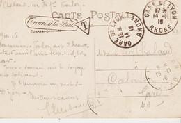 France, De Gare De Lyon  Rhone  En 1916  Empreinte  Double De Machine Daguin  TB - Mechanical Postmarks (Other)