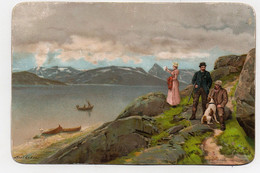 Carte Illustrateur Axel Ender Eneret Abel Christiania Norvège Paysage Chasse Chien Lac Barque 1894 - Mich