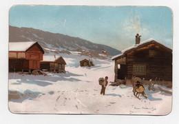 Carte Illustrateur à Déchiffrer Eneret Abel Christiania Norvège Paysage Hiver Neige Cheval Traineau 1893 - Mich