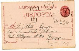 1903 TODI LINEARE + DITALE CON DATA ANNULLATORI UNICI PROVVISORI  DI CARTOLINA POSTALE UMBERTO IN USO TARDIVO - Marcophilie