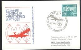 Ganzsache DDR PP 16  Sonderstempel 10 Jahre Zentraler Arbeitskreis Luftpost (4.12.75) - Privatpostkarten - Gebraucht