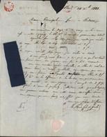échantillons Tissus Bleu De Cial CAD T12 Bordeaux (32) 24 DEC 1833 Taxe Manuscrite 7 Arrivée Bédarieux - 1801-1848: Précurseurs XIX