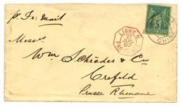 1892 FRANCE 5c SAGE Obl. SHANG-HAI CHINE + LIGNE N PAQ FR N°2 En Rouge (rare) Sur Env. (Tarif IMPRIME) Pour CREFELD (PRU - Non Classificati
