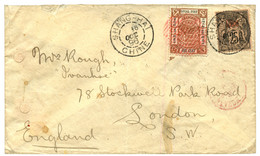 1896 LOCAL POST SHANGHAI 1c Obl. Cachet Rouge +  25c Obl. SHANGHAI Sur Enveloppe Pour L' ANGLETERRE. Verso, Cachet Rouge - Non Classificati