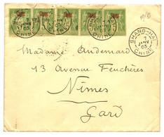 1903 5c SAGE (x5) Obl. SHANG-HAI CHINE Sur Enveloppe ^pour La FRANCE. Superbe. - Non Classificati