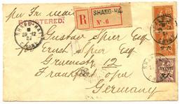 1921 MOUCHON 6c S/ 15c (x2) + 8c S/ 20c Obl. SHANGHAI CHINE Sur Enveloppe RECOMMANDEE Pour L' ALLEMAGNE. TB. - Non Classificati