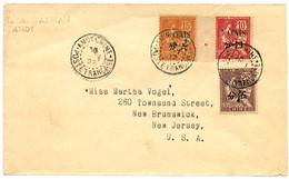 AMOY : 1922 4c + 5c + 6c Obl. AMOY CHINE POSTE FRANCAISE Sur Enveloppe Pour Les USA. Rare. TTB. - Non Classificati