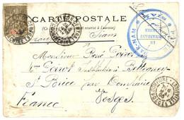 """SIAM - French Occupation : 1903 French INDOCHINA Canc. SAIGON + """"TROUPES Du SIAM"""" + Rare Blue Cachet POSTE DE PAK-NAM SI - Siam"""