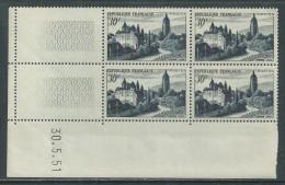 France N° 905 XX Vue D'Arbois En Bloc De 4 Coin Daté Du 30 . 5 . 51 ; Sans Charnière, TB - 1950-1959