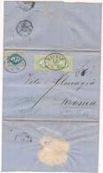 1868 AUSTRIA TRIESTE X ROMA 10 + COPPIA 3 KR + TASSA 5 CON AMBULANTE UDINE VERONA - Covers & Documents