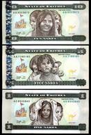 ERITREA SET 3 PCS 1 5 10 NAKFA 1997 P 1 2 3 UNC - Eritrea