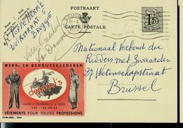 Publibel Obl. N° 1204 ( Vêtements Pour Toutes Professions - DEPRAET'S - Gent) Obl. BRUGGE Double Cercle 1953 - Publibels