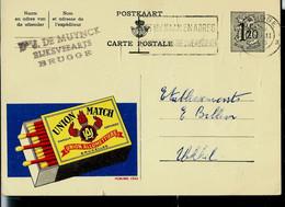 Publibel Obl. N° 1253  ( Allumettes - Feu - Fire - UNION MATCH) Obl . BRUGGE 1955 - Publibels