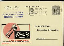 Publibel Obl. N° 1397 ( Couvert En Argent - PLATURA) Obl. CHARLEROI 1956 - Publibels