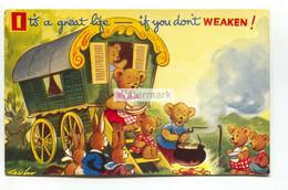 Bears, Gipsy Caravan - It's A Great Life If You Don't Weaken! - Bamforth Comic Greetings Postcard, Artwork By Taylor - Fumetti