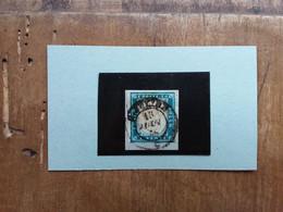 ANTICHI STATI ITALIANI - SARDEGNA - 20 Centesimi Azzurro Chiaro Su Frammento - Timbrato + Spese Postali - Sardaigne