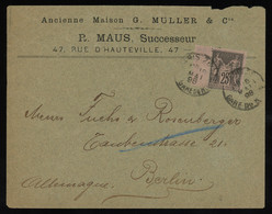 TREASURE HUNT [01110] France 1898 Cover Sent From Paris To Berlin, Bearing Sage 25c Single Franking ( Gutter At Left) - 1876-1898 Sage (Type II)
