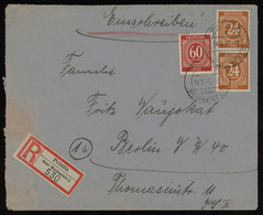TREASURE HUNT [01160] Allied Occupation 1946 Reg. Cover Sent From Prittitz With Numerals 24 Pf Ocre Pair+60 Pf Red-brown - Zona AAS