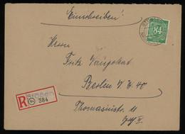 TREASURE HUNT [01168] Allied Occupation 1948 Reg. Cover Sent From Stössen To Berlin Bearing Numerals 84 Pf Green - Zona AAS