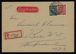 TREASURE HUNT [01170] Allied Occupation 1946 Reg. Cover Sent Within Berlin Bearing Numerals 16 Pf Blue-green+60 Pf Red - Zona AAS