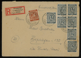 TREASURE HUNT [01181] Allied Occupation 1946 Reg. Cover Sent From Wuppertal W/ 12 Pf Blue-grey Strip Of 3+pair+others - Zona AAS