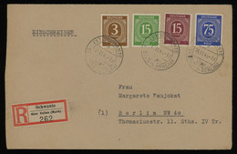 TREASURE HUNT [01190] Allied Occupation 1946 Reg. Cover From Schwante To Berlin Bearing 3 Pf+15 Pf+15 Pf+75 Pf - Zona AAS