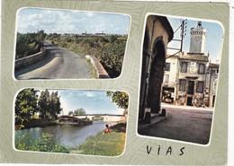 34. VIAS.  MULTIVUES. LE CANAL. LA MAIRIE ..ANNEE 1961 + TEXTE - Other Municipalities