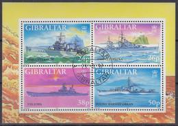 GIBRALTAR  Block 29, Gestempelt, Kriegsschiffe Im Zweiten Weltkrieg (V), 1997 - Gibraltar