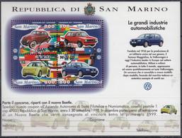 SAN MARINO  Block 23, Gestempelt, Bedeutende Automobilhersteller – Volkswagen: VW Käfer Und Golf, 1997 - Blocks & Kleinbögen